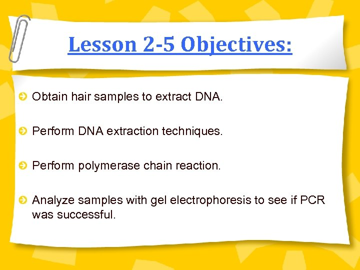 Lesson 2 -5 Objectives: Obtain hair samples to extract DNA. Perform DNA extraction techniques.