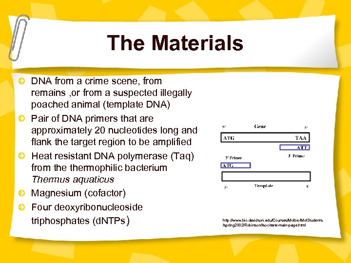 The Materials DNA from a crime scene, from remains , or from a suspected