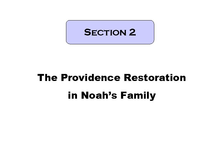 Section 2 The Providence Restoration in Noah's Family