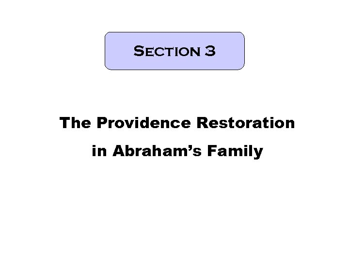 Section 3 The Providence Restoration in Abraham's Family