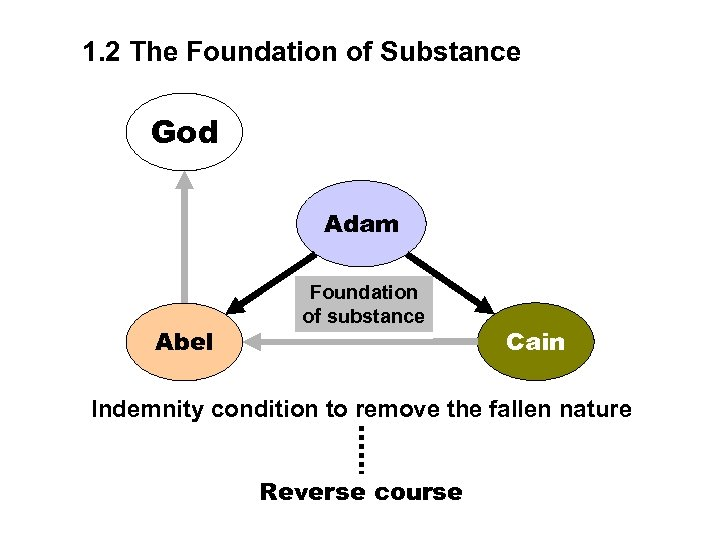 1. 2 The Foundation of Substance God Adam Abel Foundation of substance Cain Indemnity
