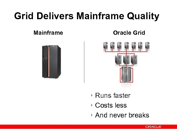 Grid Delivers Mainframe Quality Mainframe Oracle Grid M/F Here ‣ Runs faster ‣ Costs