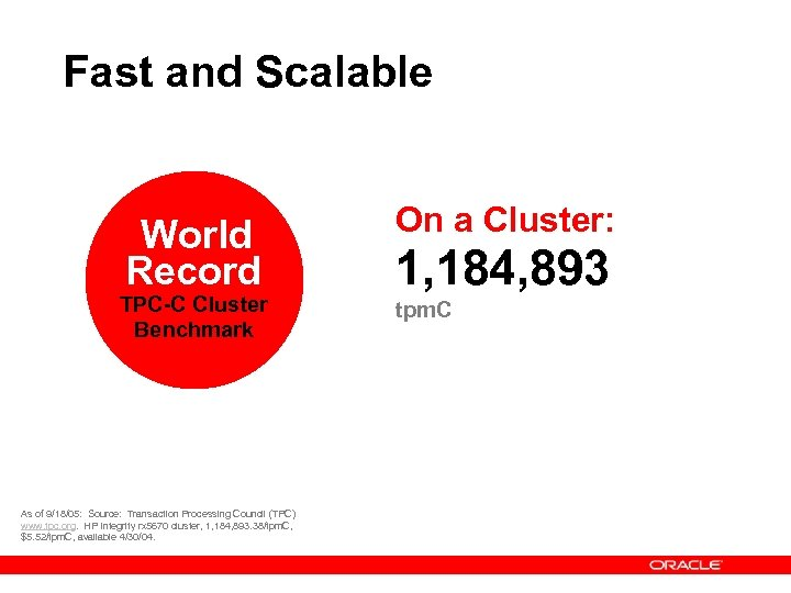 Fast and Scalable World Record TPC-C Cluster Benchmark As of 9/18/05: Source: Transaction Processing