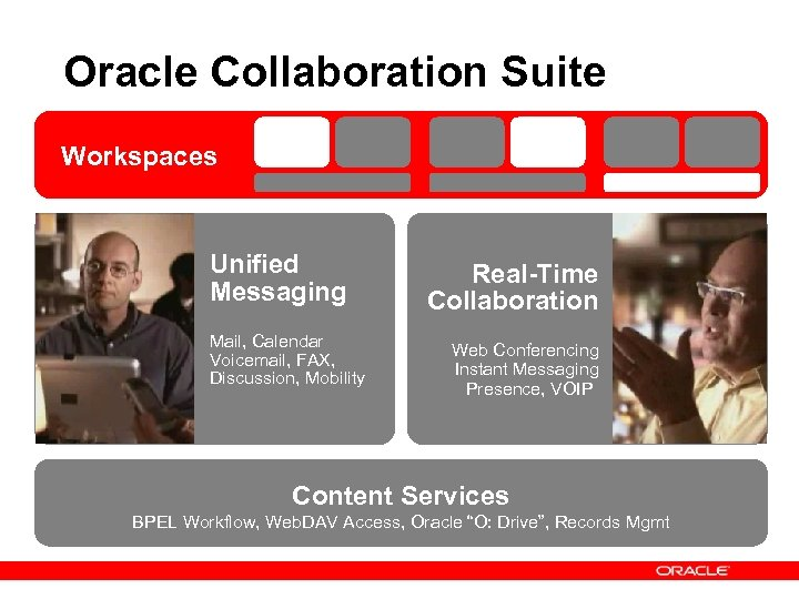 Oracle Collaboration Suite Workspaces Unified Messaging Mail, Calendar Voicemail, FAX, Discussion, Mobility Real-Time Collaboration