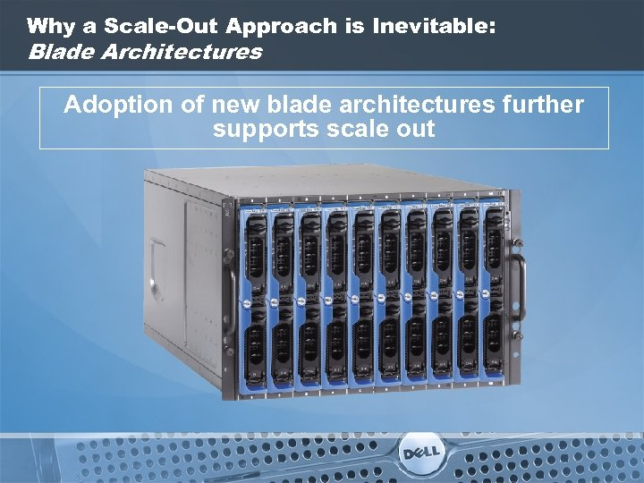 Why a Scale-Out Approach is Inevitable: Blade Architectures Adoption of new blade architectures further