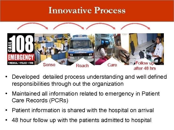 Innovative Process Sense Reach Care Follow up after 48 hrs • Developed detailed process