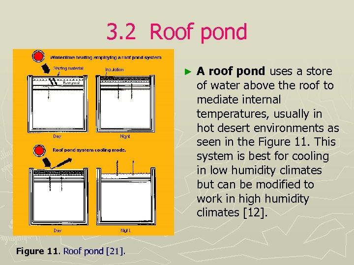 3. 2 Roof pond ► Figure 11. Roof pond [21]. A roof pond uses