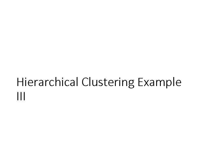 Hierarchical Clustering Example III