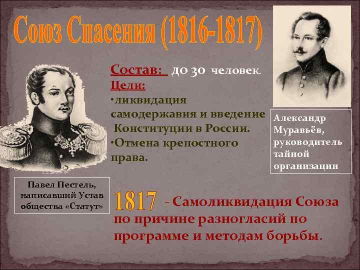 Состав: до 30 человек. Цели: • ликвидация самодержавия и введение Конституции в России. •