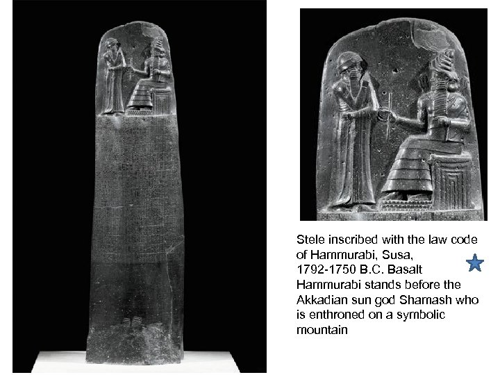 Stele inscribed with the law code of Hammurabi, Susa, 1792 -1750 B. C. Basalt