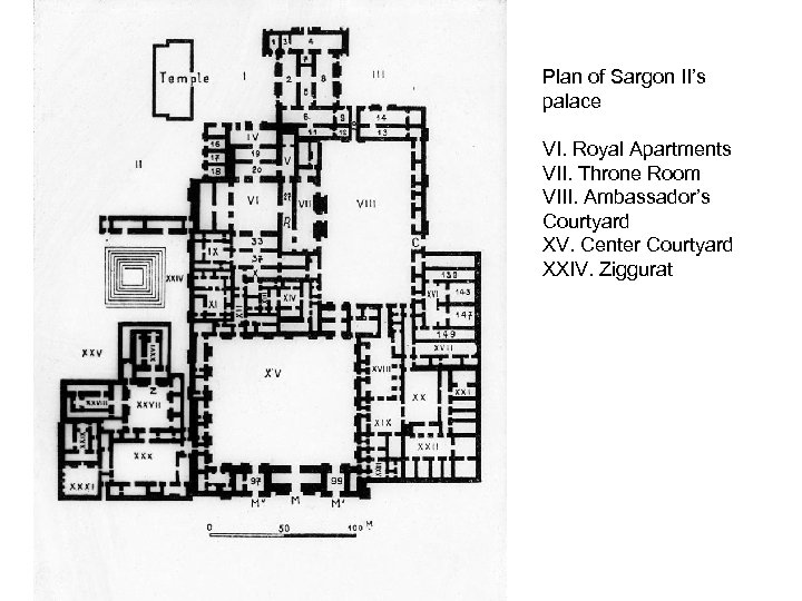 Plan of Sargon II's palace VI. Royal Apartments VII. Throne Room VIII. Ambassador's Courtyard