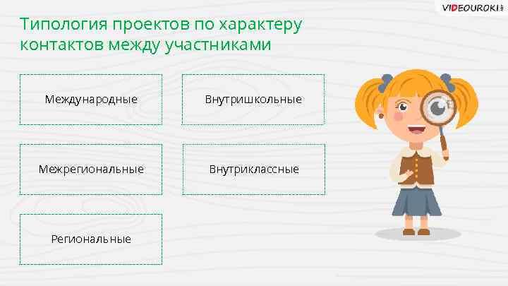 Типология проектов по характеру контактов между участниками Международные Внутришкольные Межрегиональные Внутриклассные Региональные