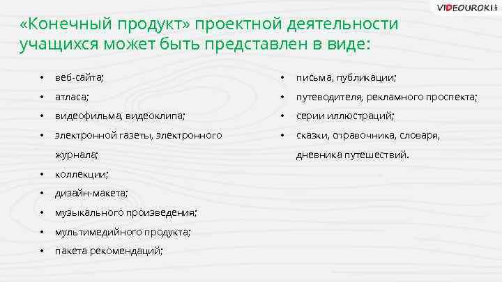 «Конечный продукт» проектной деятельности учащихся может быть представлен в виде: • веб-сайта; •