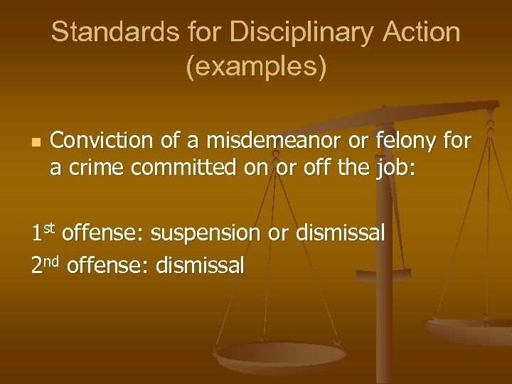 Standards for Disciplinary Action (examples) n Conviction of a misdemeanor or felony for a