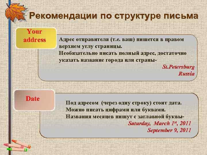 Рекомендации по структуре письма Your address Date Адрес отправителя (т. е. ваш) пишется в