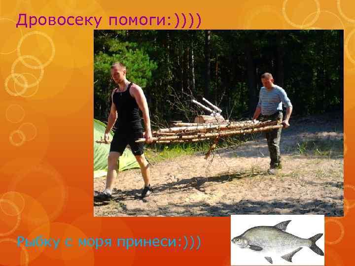 Дровосеку помоги: )))) Рыбку с моря принеси: )))