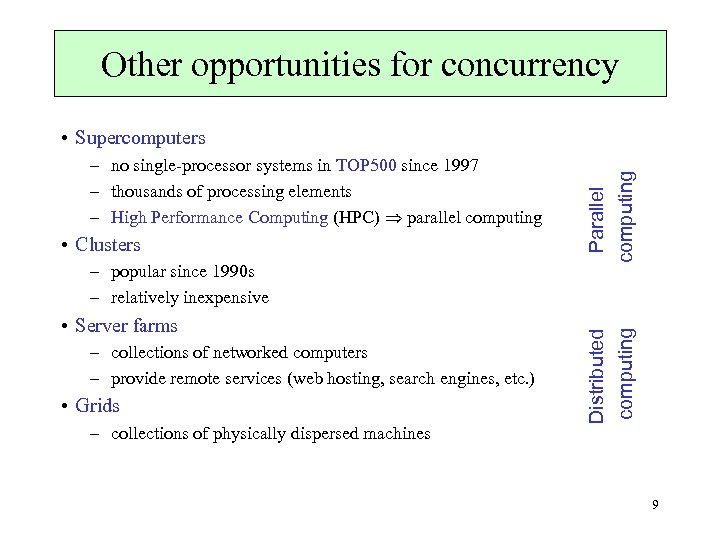 Other opportunities for concurrency • Clusters – popular since 1990 s – relatively inexpensive