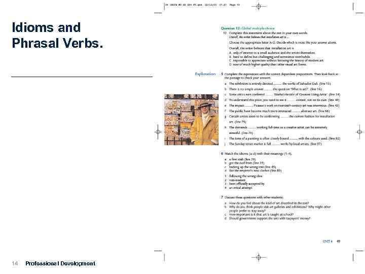 Idioms and Phrasal Verbs. 14 Professional Development