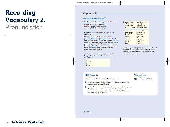 Recording Vocabulary 2. Pronunciation. 24 Professional Development