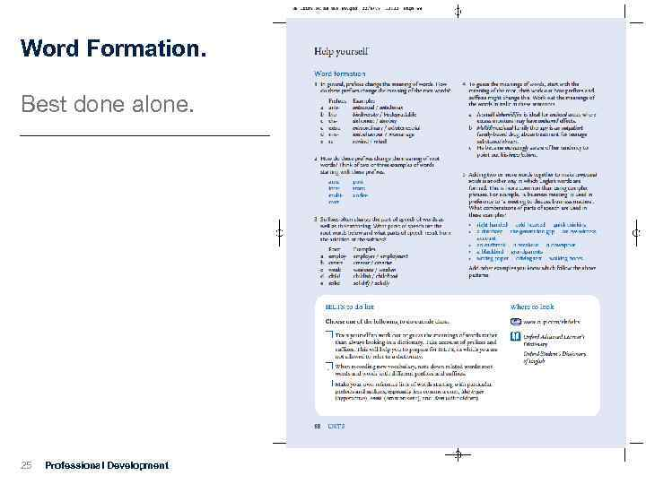 Word Formation. Best done alone. 25 Professional Development