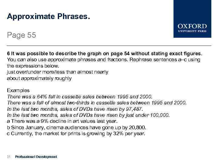Approximate Phrases. Page 55 6 It was possible to describe the graph on page
