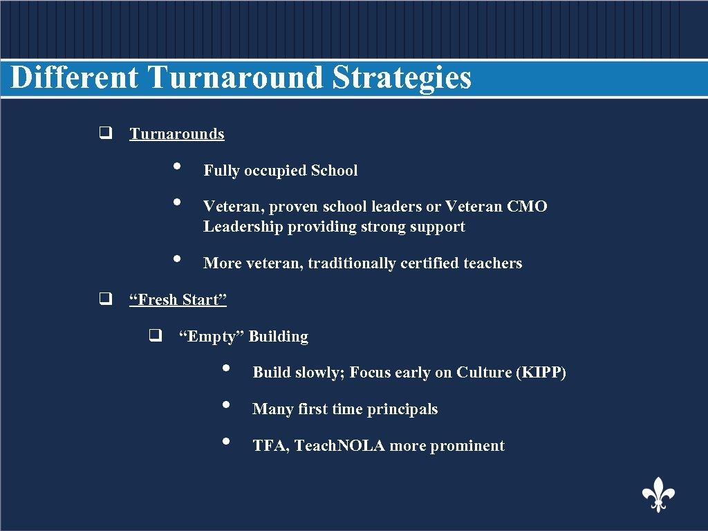 Different Turnaround Strategies q Turnarounds BODY COPY Fully occupied School • • • Veteran,