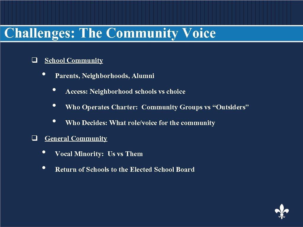 Challenges: The Community Voice q School Community BODY COPY • Parents, Neighborhoods, Alumni •
