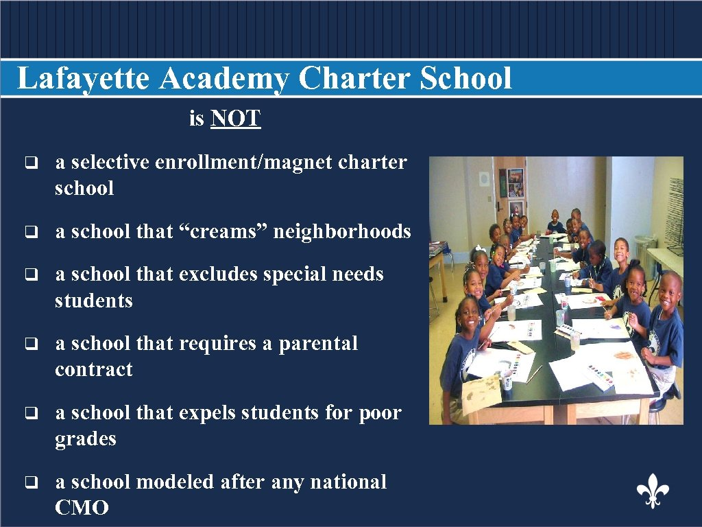 Lafayette Academy Charter School is NOT BODY COPY q a selective enrollment/magnet charter school