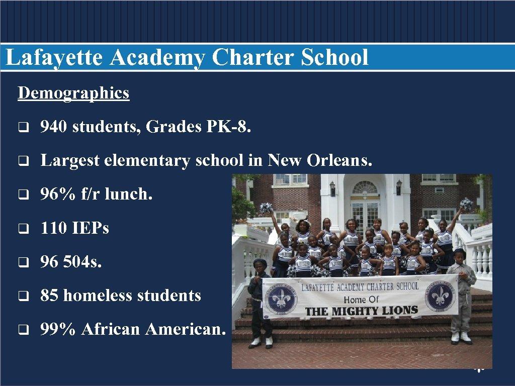 Lafayette Academy Charter School Demographics BODY COPY q 940 students, Grades PK-8. q Largest