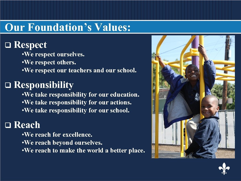 Our Foundation's Values: q Respect BODY COPY • We respect ourselves. • We respect