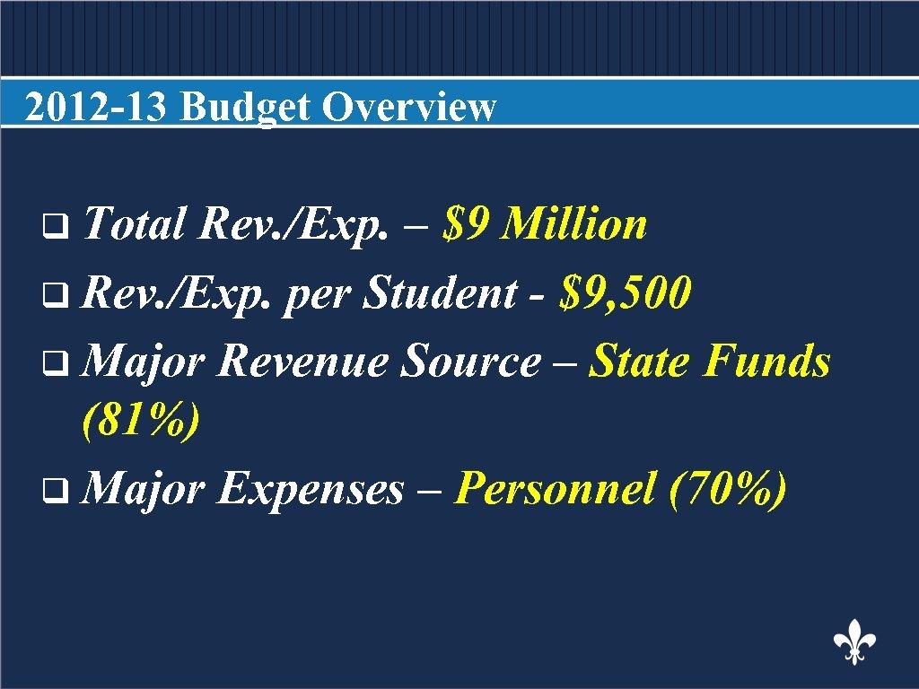 2012 -13 Budget Overview BODY COPY q Total Rev. /Exp. – $9 Million q
