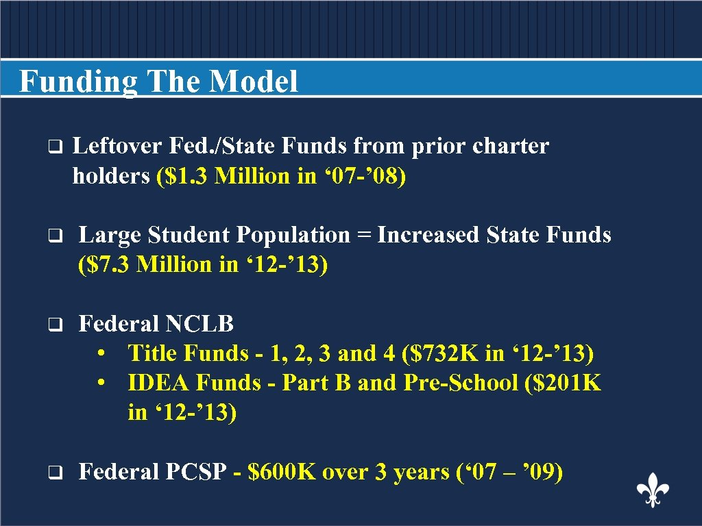 Funding The Model q Leftover BODY COPY Fed. /State Funds from prior charter holders