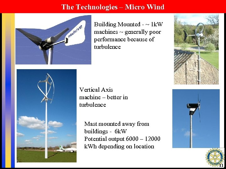 The Technologies – Micro Wind Building Mounted - ~ 1 k. W machines ~