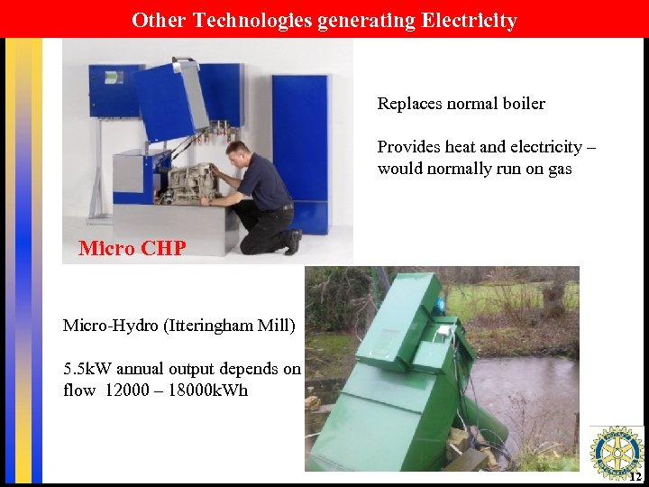 Other Technologies generating Electricity Replaces normal boiler Provides heat and electricity – would normally