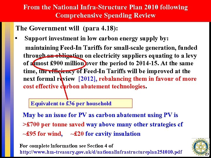 From the National Infra-Structure Plan 2010 following Comprehensive Spending Review The Government will (para