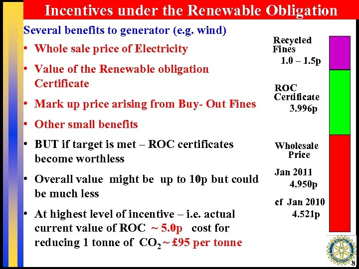 Incentives under the Renewable Obligation Several benefits to generator (e. g. wind) • Whole
