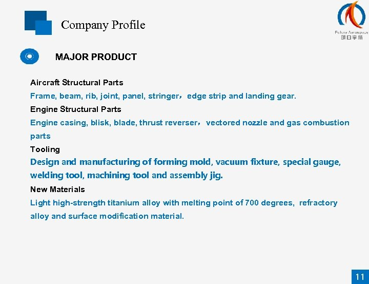 Company Profile MAJOR PRODUCT Aircraft Structural Parts Frame, beam, rib, joint, panel, stringer,edge strip