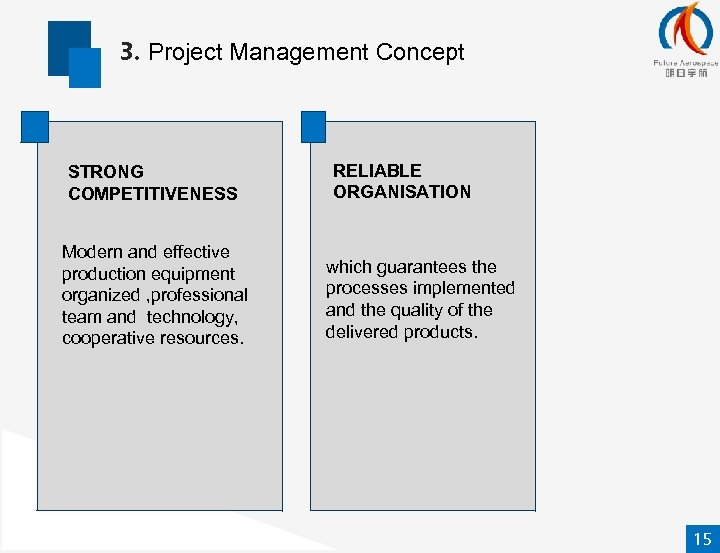 3. Project Management Concept STRONG COMPETITIVENESS Modern and effective production equipment organized , professional