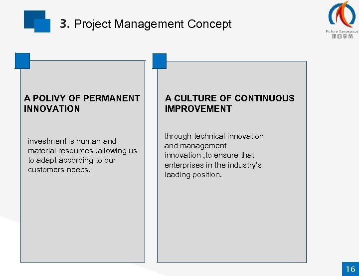 3. Project Management Concept A POLIVY OF PERMANENT INNOVATION investment is human and material