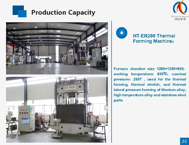Production Capacity HT-ER 200 Thermal Forming Machine: Furnace chamber size 1280× 1350× 850, working