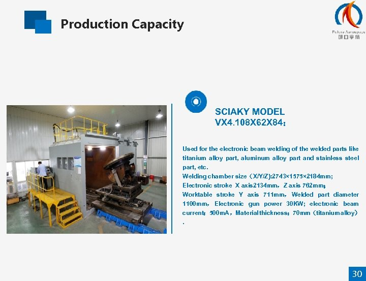 Production Capacity SCIAKY MODEL VX 4. 108 X 62 X 84: Used for the