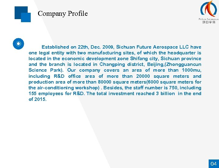 Company Profile Established on 22 th, Dec. 2009, Sichuan Future Aerospace LLC have one