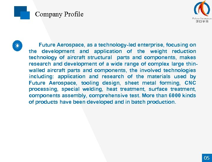 Company Profile Future Aerospace, as a technology-led enterprise, focusing on the development and application