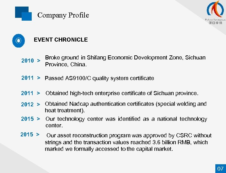 Company Profile EVENT CHRONICLE 2010 > Broke ground in Shifang Economic Development Zone, Sichuan
