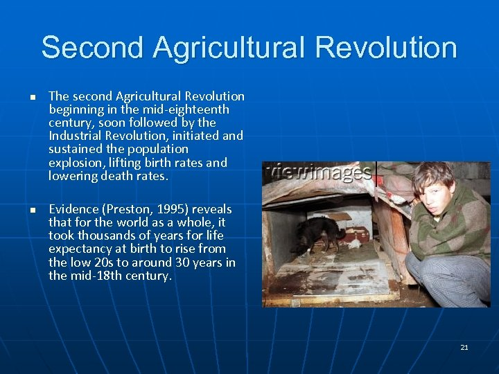 Second Agricultural Revolution n n The second Agricultural Revolution beginning in the mid-eighteenth century,