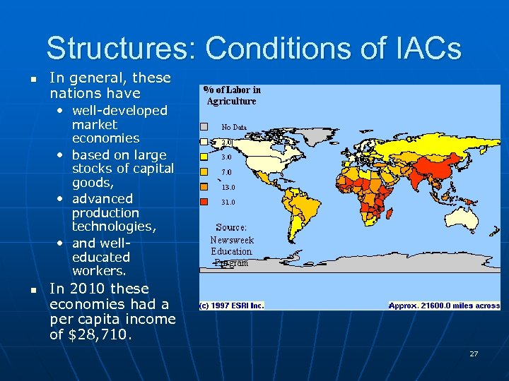 Structures: Conditions of IACs n In general, these nations have • well-developed market economies
