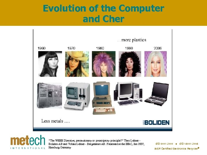 """Evolution of the Computer and Cher """"The WEEE Directive, precautionary or prescriptory principle? """""""