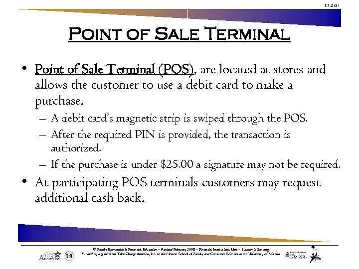 1. 7. 2. G 1 Point of Sale Terminal • Point of Sale Terminal