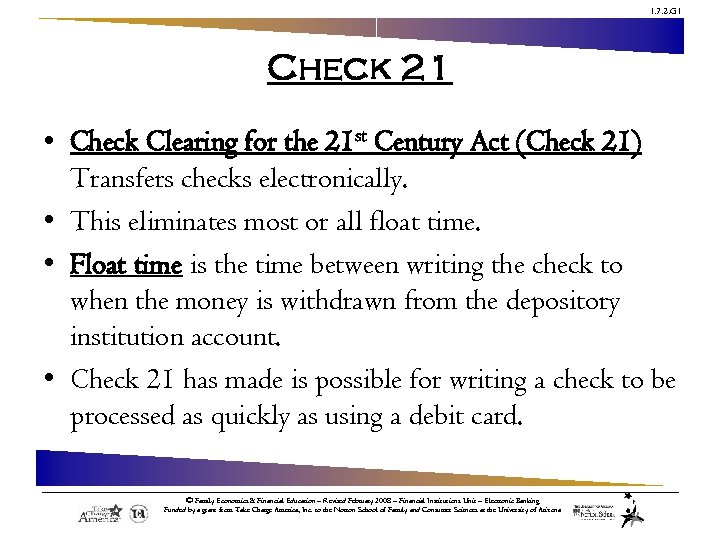 1. 7. 2. G 1 Check 21 • Check Clearing for the 21 st