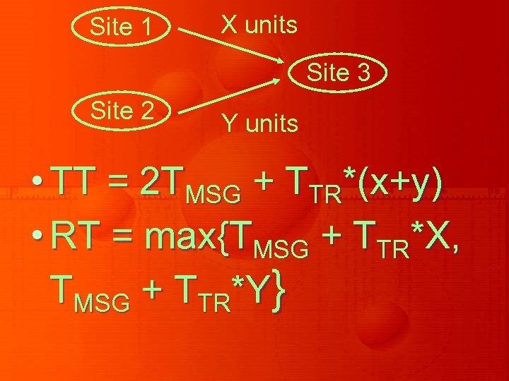 Site 1 X units Site 3 Site 2 Y units • TT = 2